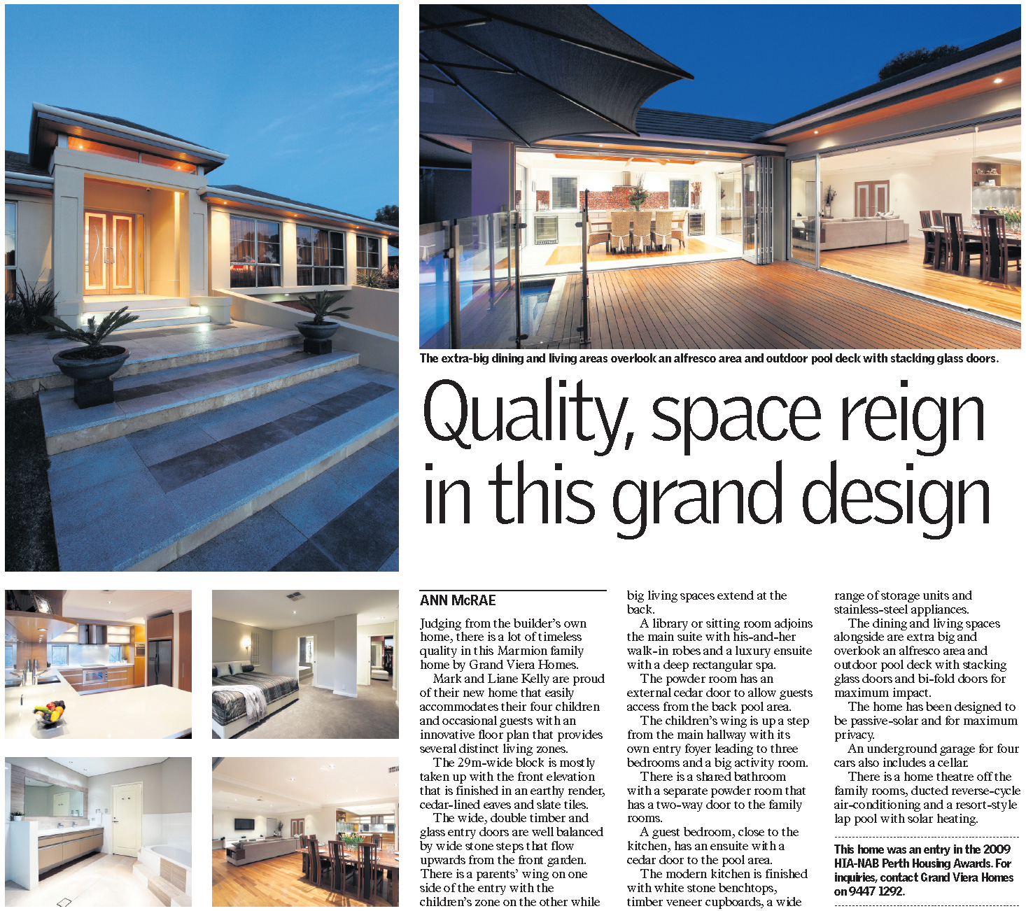 Quality space reign in this grand design grand viera homes for Quality of space in architecture
